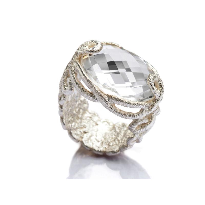 anillo de encaje de plata